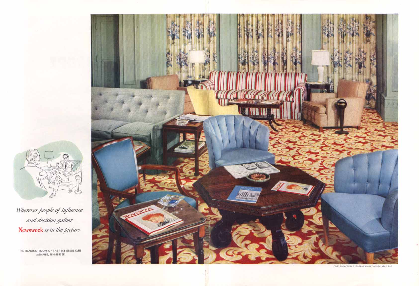 Newsweek at The Tennessee Club Memphis ad 1953 Muray