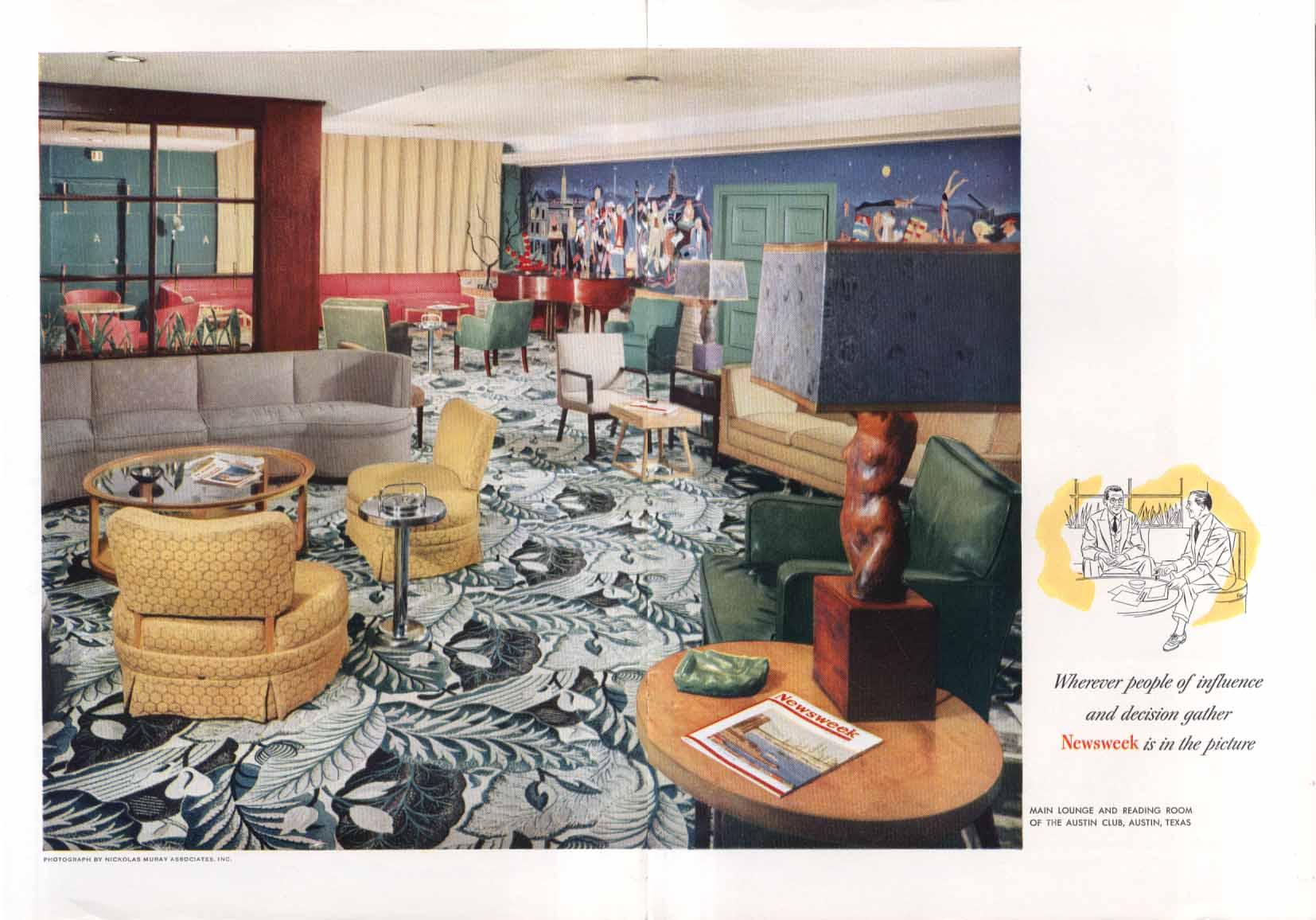 Newsweek at The Austin Club Austin TX ad 1953 Muray