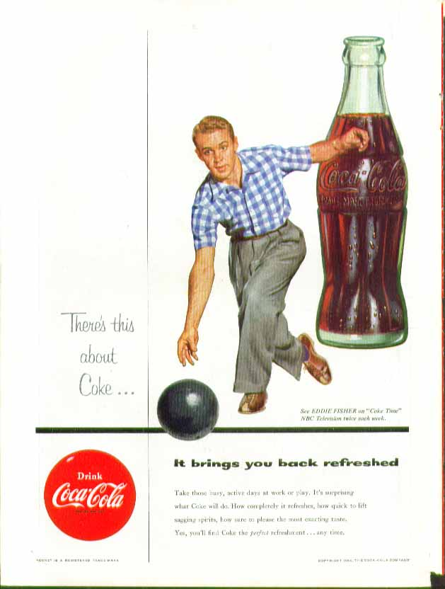Image for There's this about Coke - It brings you back Coca-Cola ad 1954 man bowling