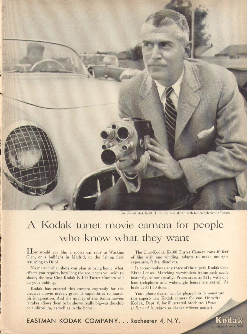 A Kodak turret movie camera Corvette ad 1957