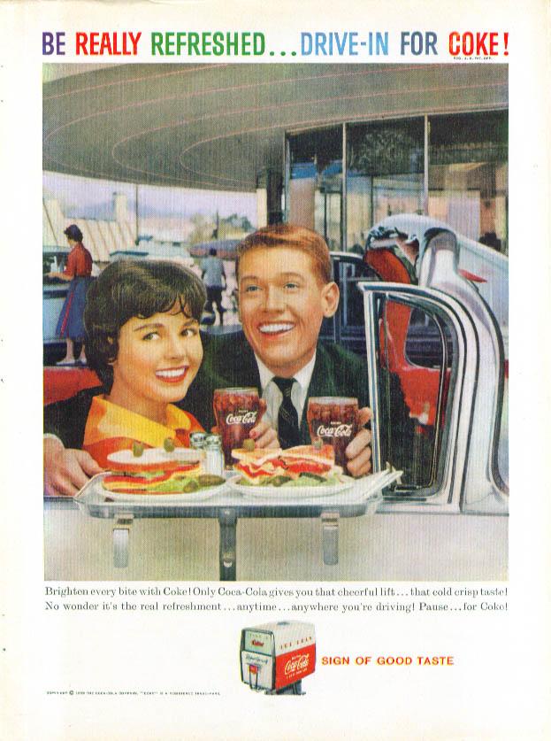 Brighten every bite Coca-Cola ad 1959 drive-in rest