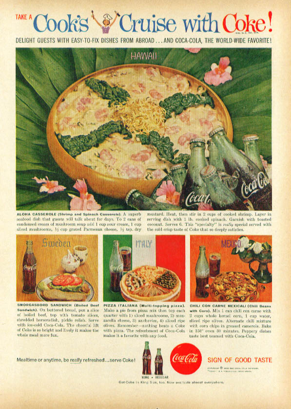 Cook's Cruise with Coca-Cola ad with recipes 1959