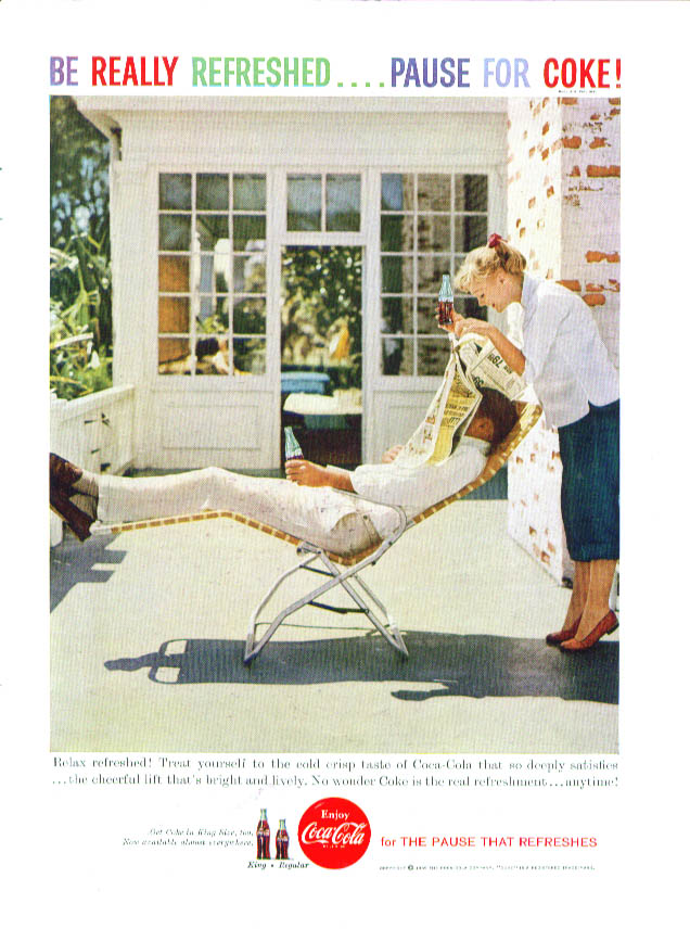 Relax refreshed Coca-Cola ad 1959 lounge chair nap