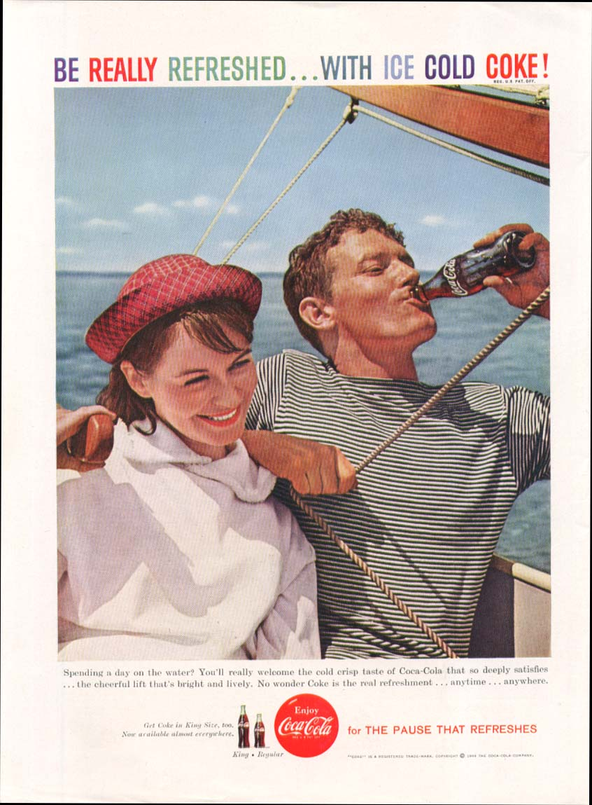 Be Really Refreshed Ice Cold Coca-Cola ad 1959 sailing