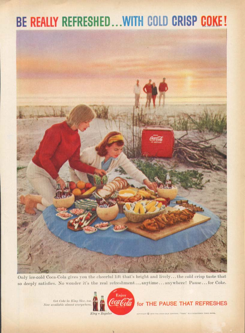 Be Really Refreshed Cold Crisp Coca Cola Ad 1959 Beach Picnic