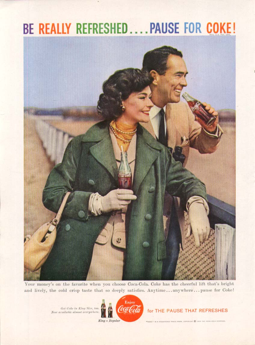 Image for Be Really Refreshed Pause Coca-Cola ad 1959 horse race