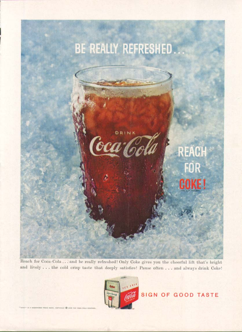 Be Really Refreshed Reach for Coca-Cola ad iced glass