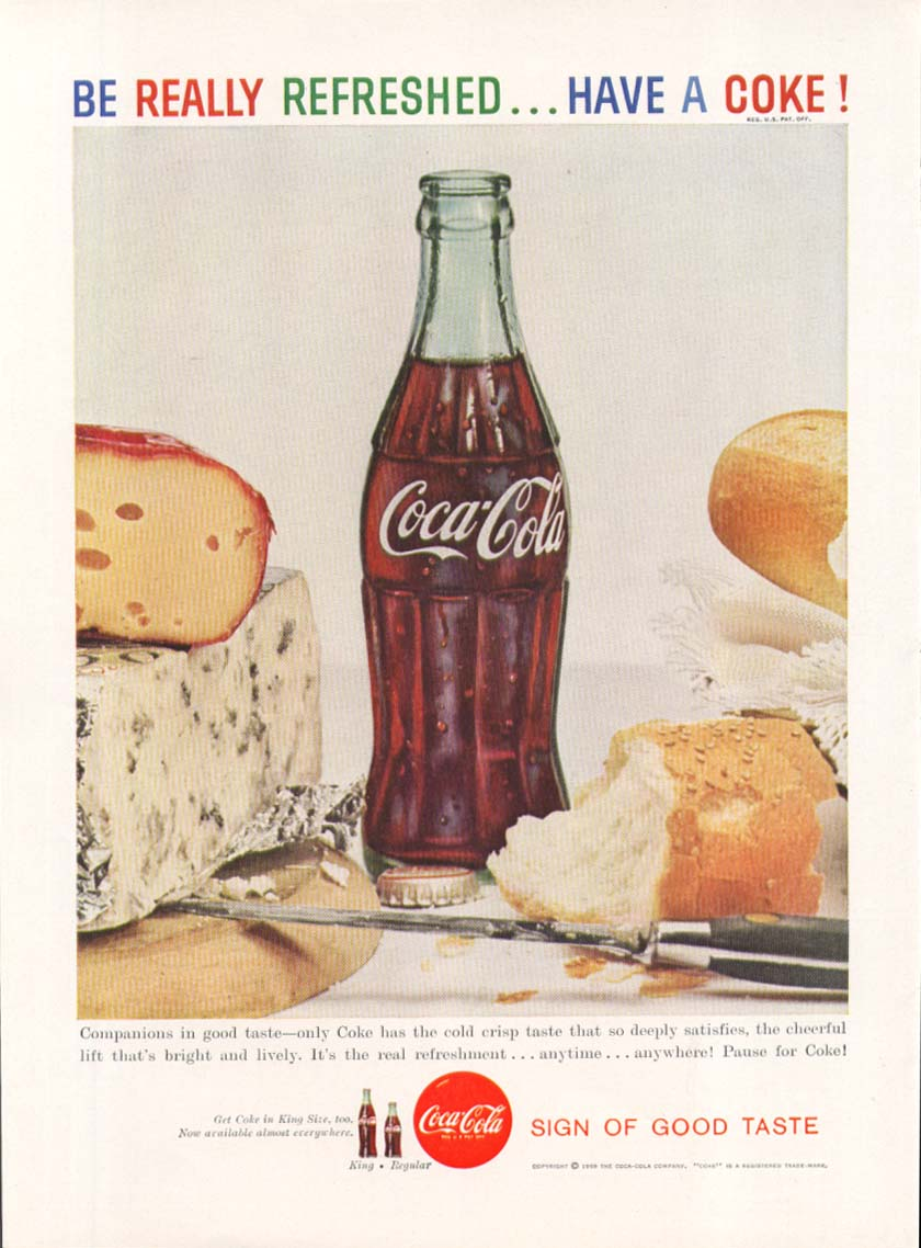 Image for Ne Really Refreshed Have a Coca-Cola ad 1959 cheese