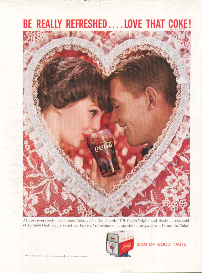 Be Really Refreshed Love Coca-Cola ad 1959 Valentine New Yorker