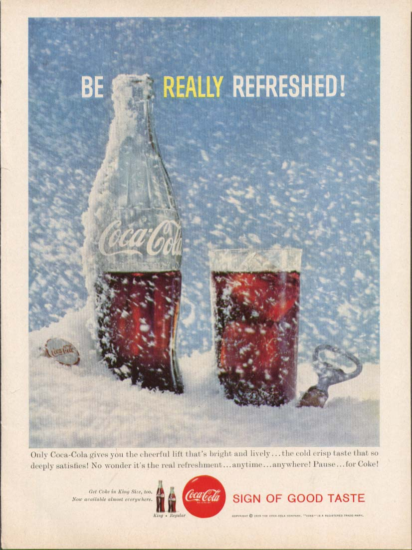 Be Really Refreshed Coca-Cola ad 1959 blizzard