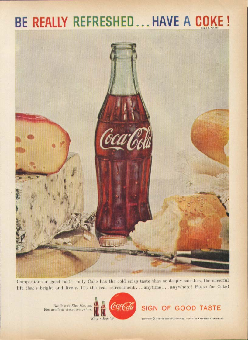 Be Really Refreshed Have a Coca-Cola ad 1959 cheese