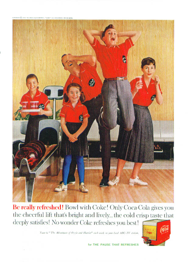 Be really refreshed Bowl with Coca-Cola ad 1960 bowling