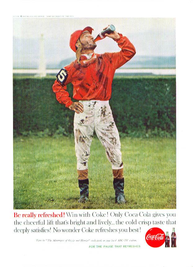 Win with Coca-Cola ad 1960 post-race jockey