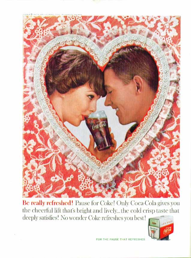 Image for Be really refreshed! Coca-Cola ad 1960 Valentine couple fountain dispenser