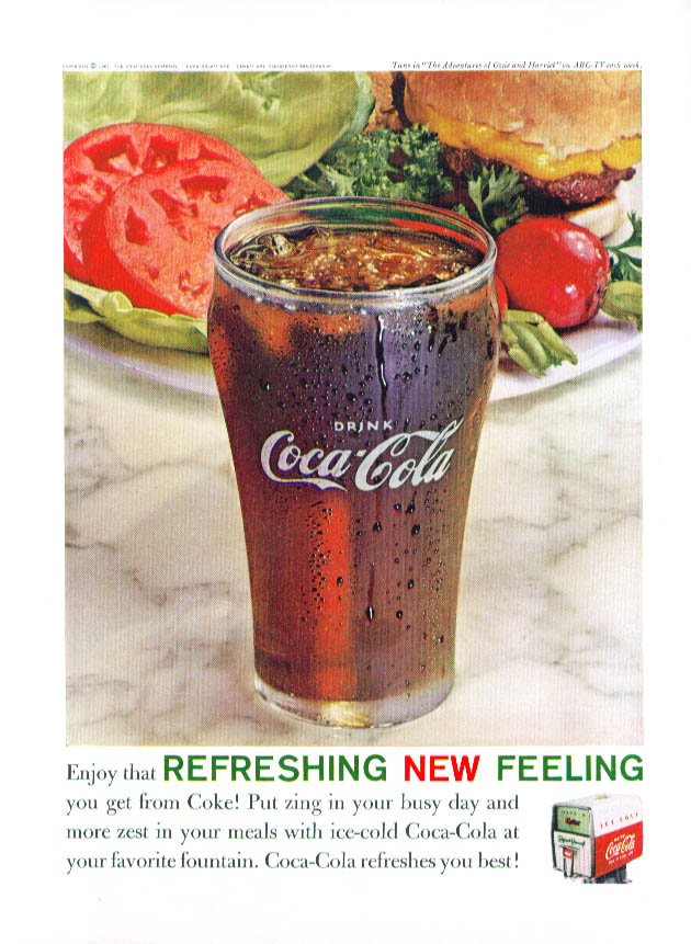 Enjoy refreshing New Feeling Coca-Cola ad 1961 burger