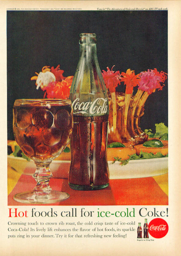 Image for Hot foods call for Coca-Cola ad 1961 goblet & roast