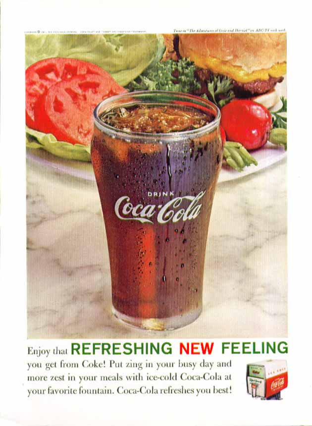 Image for Enjoy that refreshing new feeling Coca-Cola ad 1961 frosty glass & burger