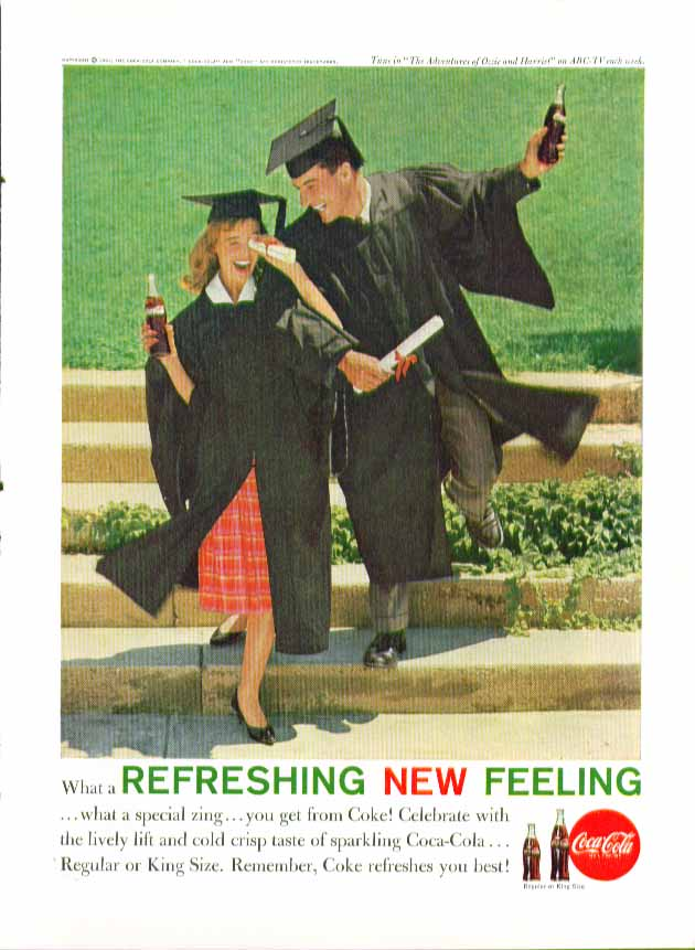What a refreshing new feeling Coca-Cola ad 1961 kids in caps & gowns graduating