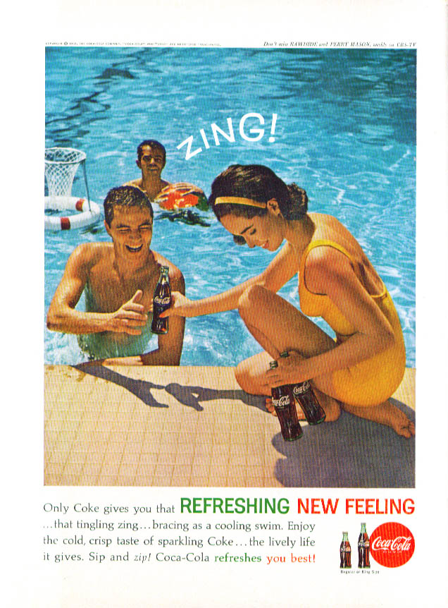Bracing as a cooling swim Zing! Coca-Cola ad 1962
