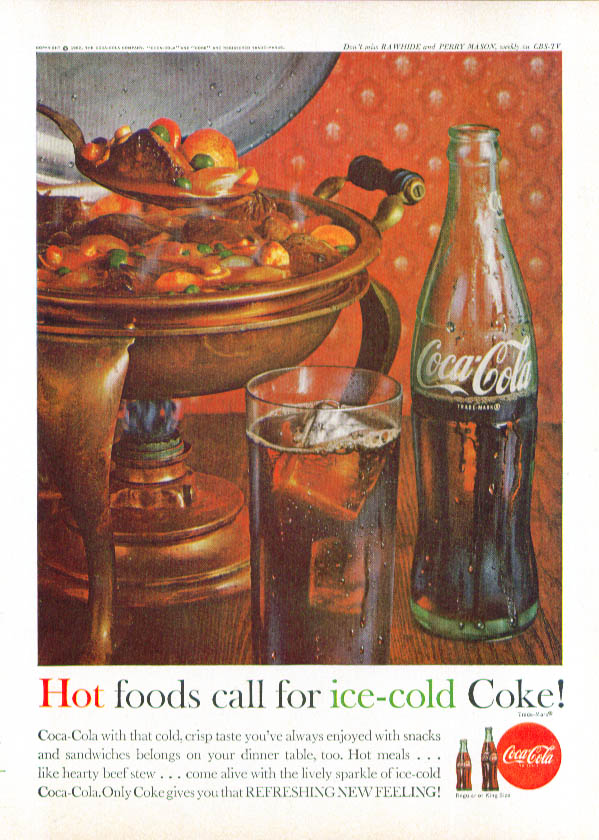 Hot foods call for Coca-Cola ad beef stew 1962