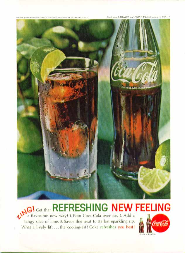 Image for ZING! Get that Refreshing New Feeling Coca-Cola ad 1962 bottle glass with lime