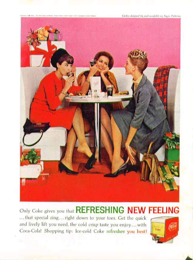 Image for Only Coke gives you that Refreshing New Feeling Coca-Cola ad 1962 shopping lunch