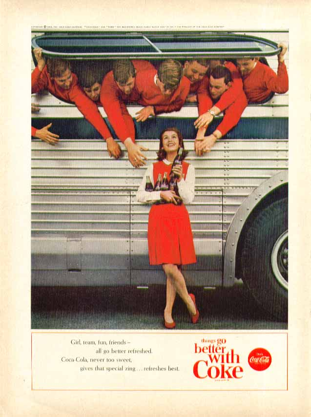 Image for Girl, team, fun, friends go better refreshed Coca-Cola ad 1963 bus & cheerleader