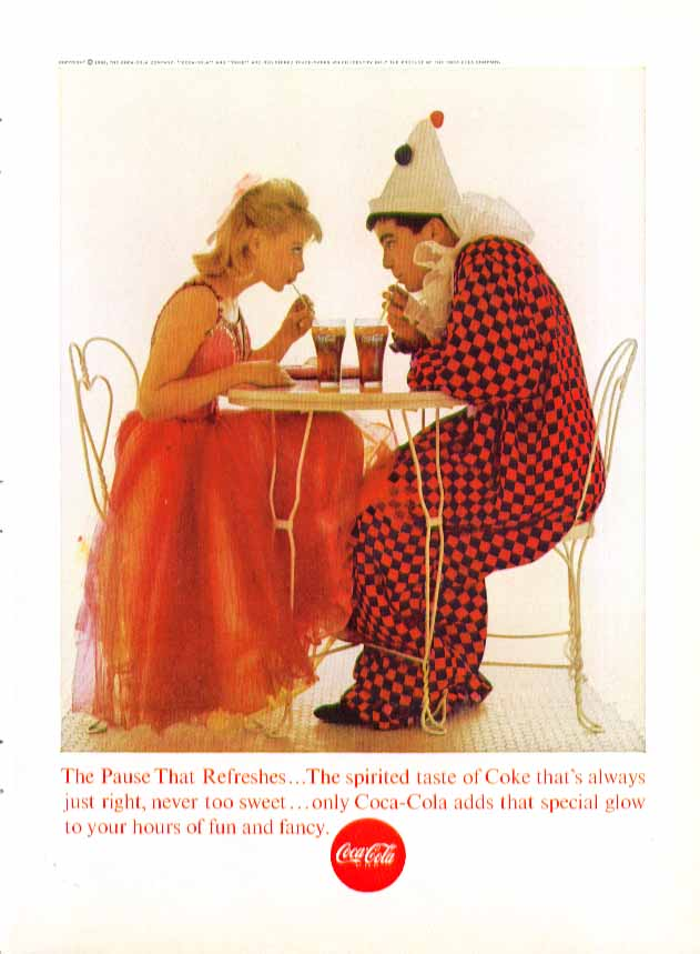 Image for The Pause That Refreshes Coca-Cola ad 1963 blonde & clown costume party