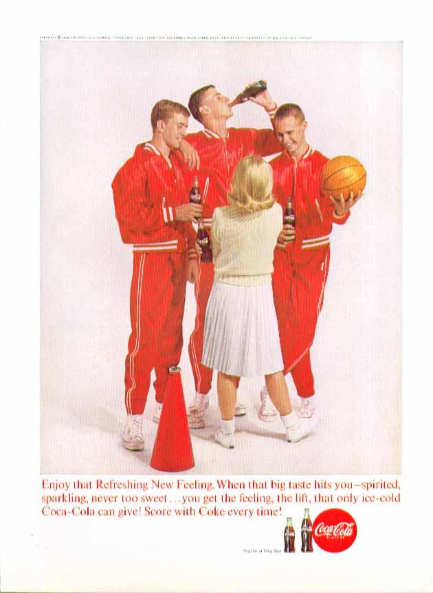 Enjoy that Refreshing New Feeling Coca-Cola ad 1963 basketball team cheerleader