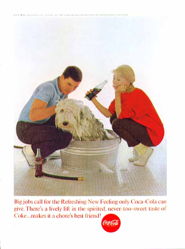 Image for Big jobs call for the Refreshing New Feeling Coca-Cola ad 1963 washing sheepdog
