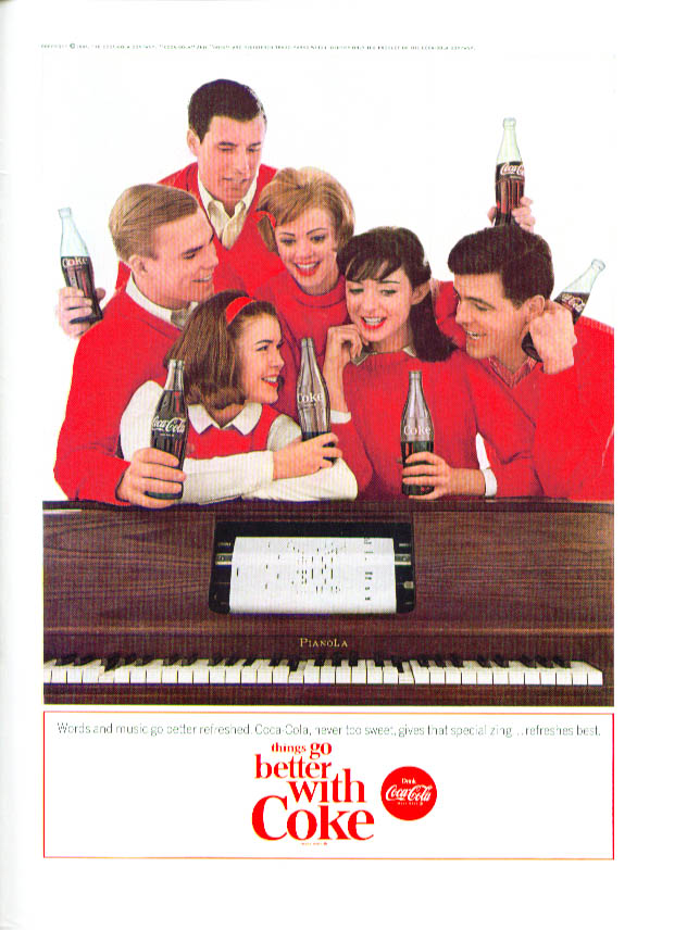 Image for Words & music go better Coca-Cola ad 1964 player piano