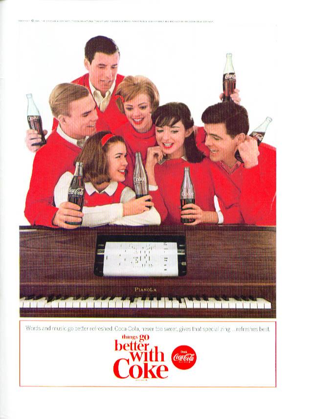 Words & music go better Coca-Cola ad 1964 player piano