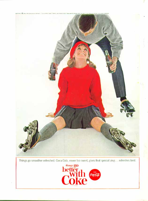 Image for Things go smoother refreshed Coca-Cola ad 1964 blonde roller skater down