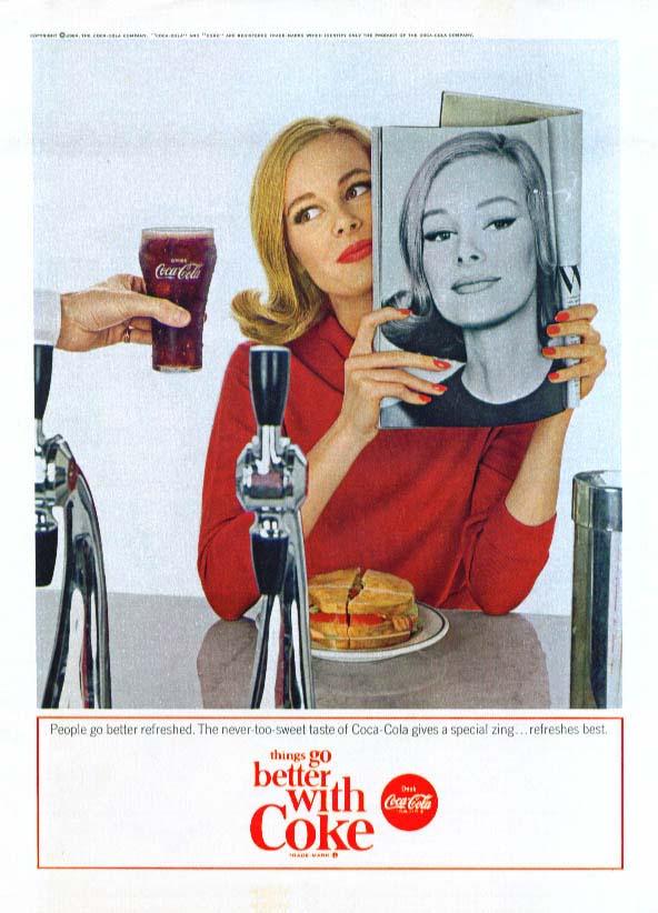 Fashion model at lunch counter Coca-Cola ad 1964