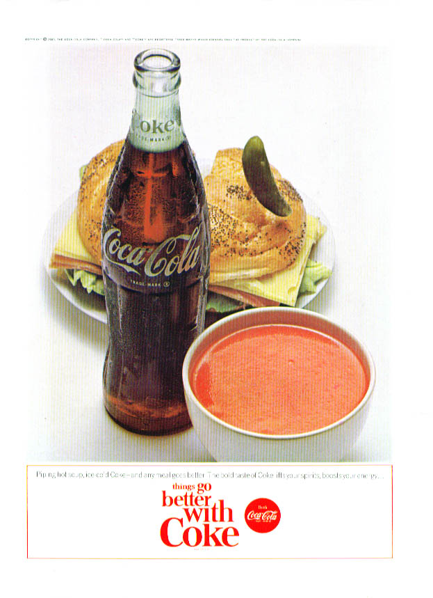 Piping hot soup ham & cheese go better Coca-Cola ad '65