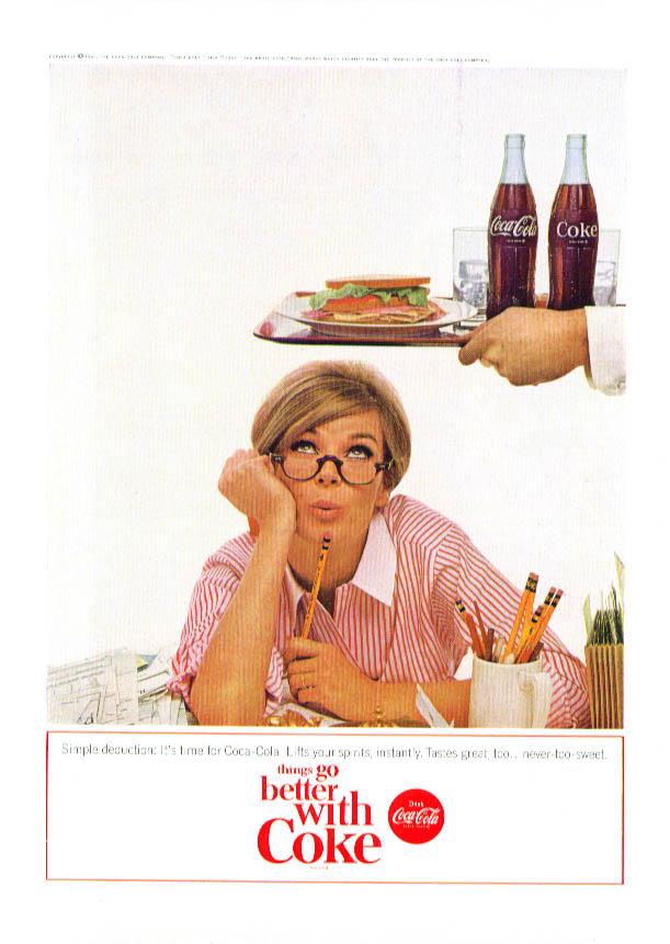 Image for Simple deduction Coca-Cola ad 1965 blonde tax return