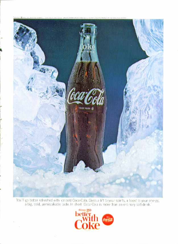 Image for You'll go better refreshed Coca-Cola ad 1965 bottle in ice blocks & cubes