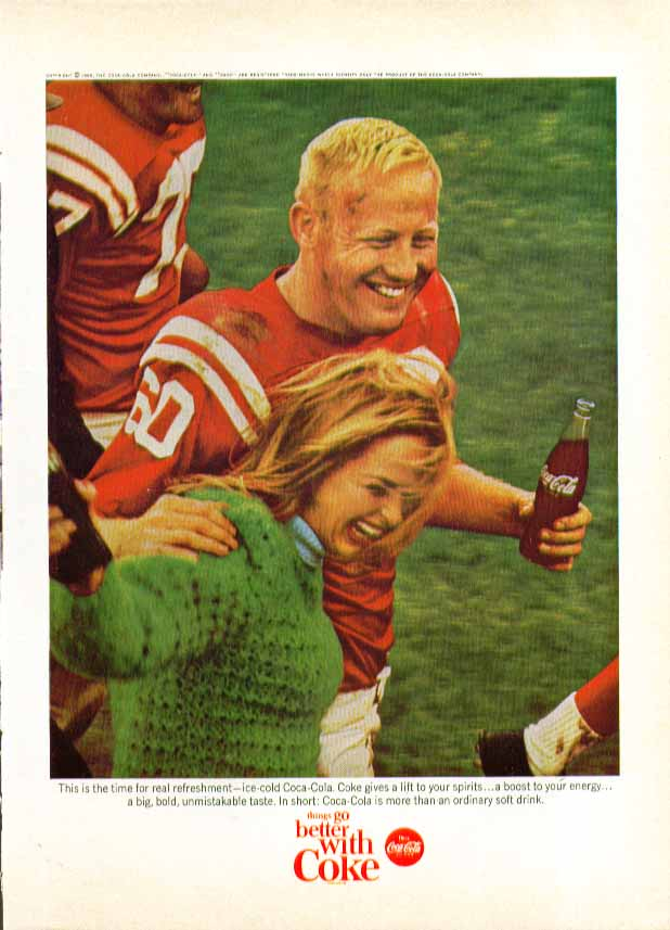 Image for This is the time for real refreshment Coca-Cola ad 1965 after football game