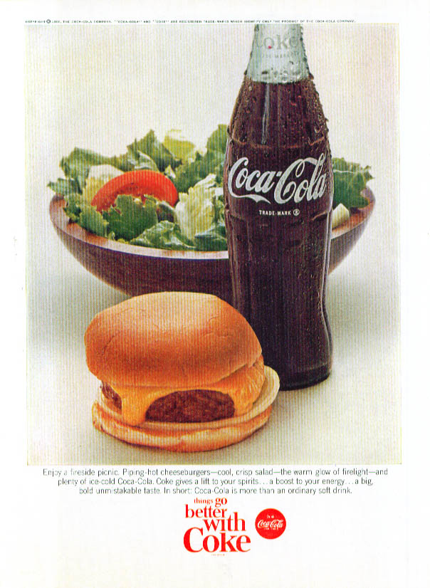 Image for Fireside picnic cheeseburger & salad Coca-Cola ad 1966