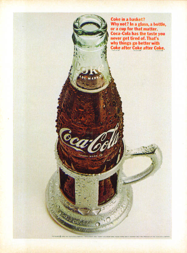 Coke in a basket? Why not? Coca-Cola ad 1966