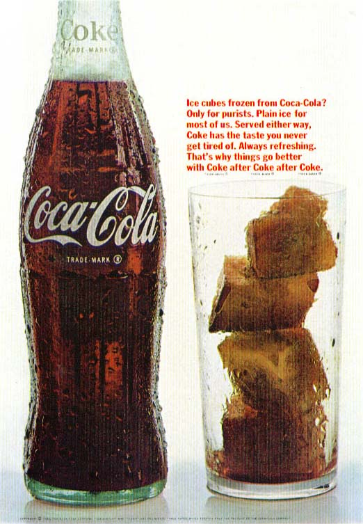 Image for Ice cubes of frozen Coca-Cola ad 1966