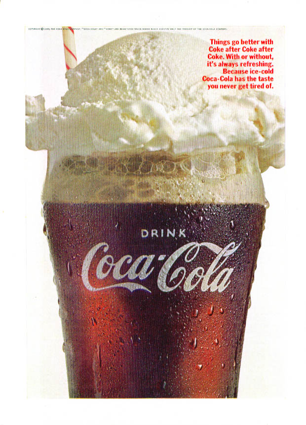 Things go better with Coca-Cola float ad 1966