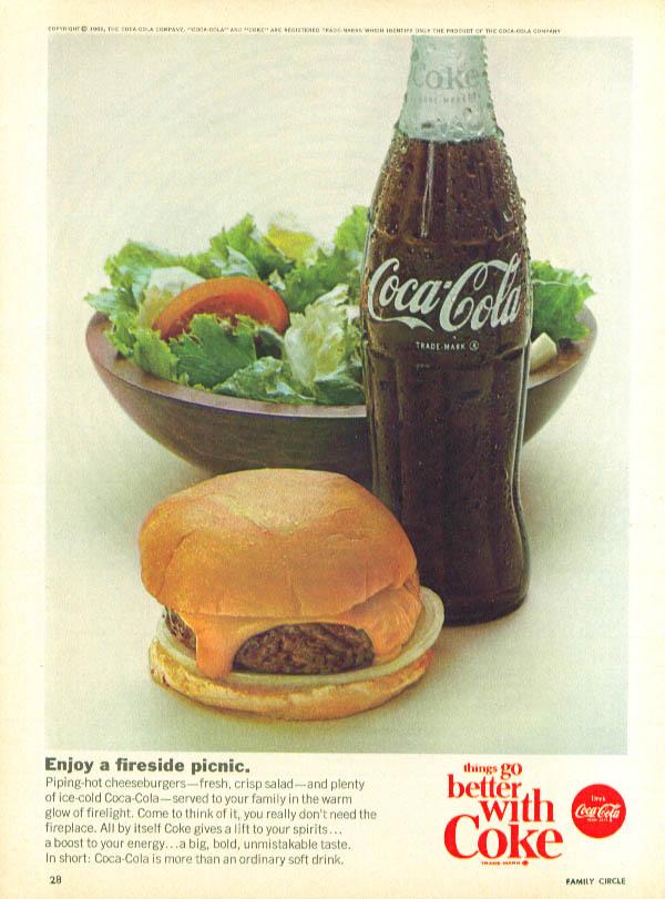 Enjoy fireside picnic Coca-Cola ad 1966 cheeseburger