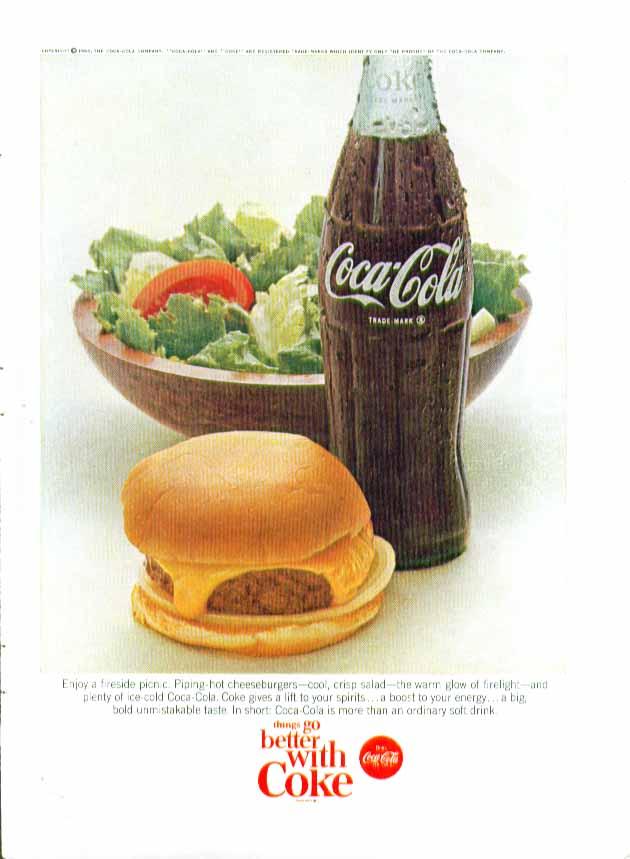 Enjoy a fireside picnic Piping-hot cheeseburgers & salad Coca-Cola ad 1966