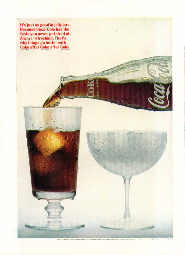 Image for It's just as good in jelly jars Coca-Cola ad 1966 pouring bottle