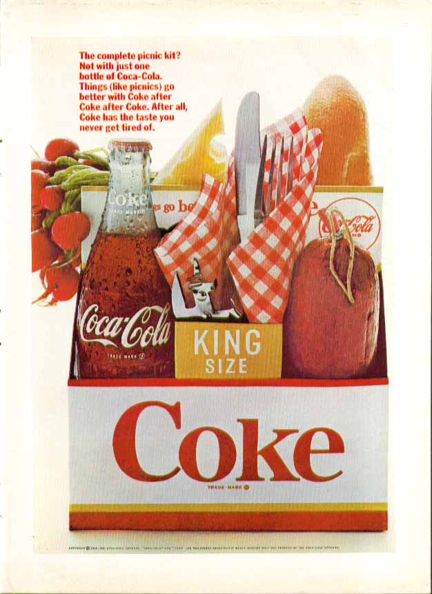 Image for The complete picnic kit? Coca-Cola ad 1966 sausage bread cheese radishes