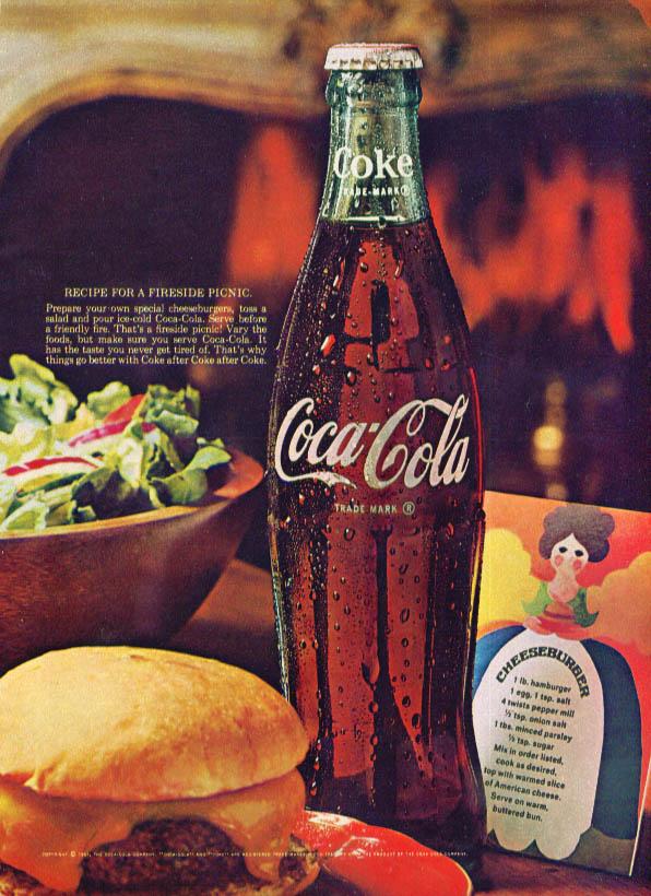 Fireside picnic salad & cheeseburger Coca-Cola ad 1967