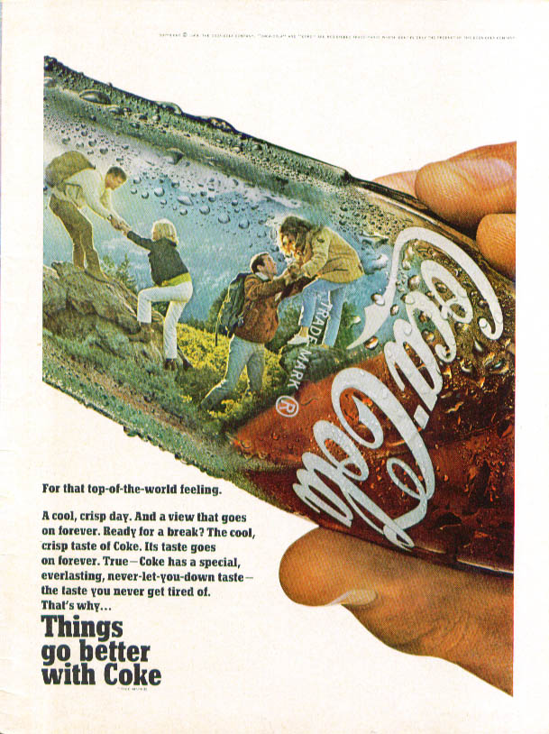 Top-of-the-world feeling Coca-Cola ad 1968 hiking