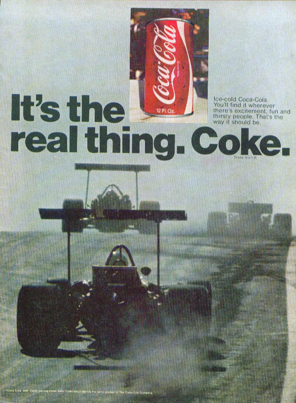 High-wing formula cars at speed Coca-Cola ad 1971