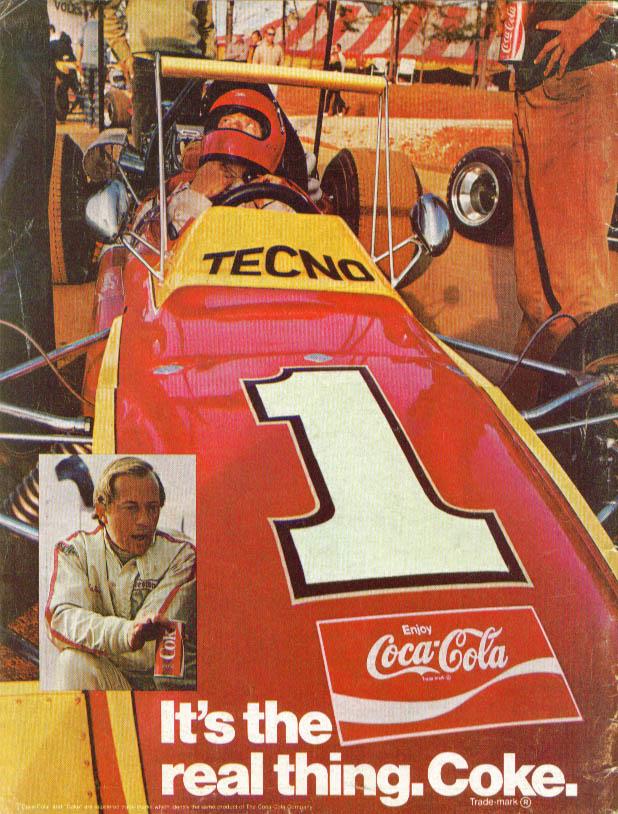 Image for Tecno Formula Racing Car & driver Coca-Cola ad 1971